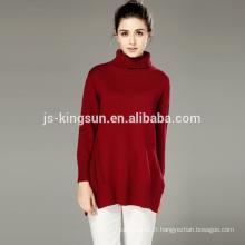 Pull tricoté à manches longues de dames de laine acrylique, pull de femmes