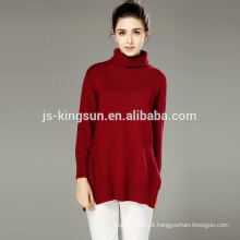 Camisola de vestuário de malha com manga comprida de lã de acrílico, camisola feminina