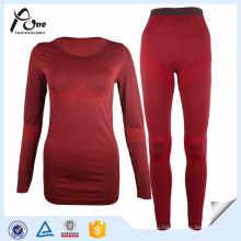 Сексуальные женщины Длинные Джонс Темно-красные бесшовные наборы белья
