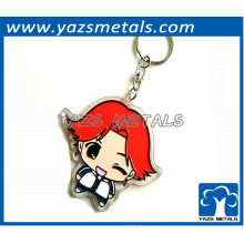 cute girl shaped metal keychain for gifts