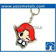 Keychain bonito do metal dado forma menina para presentes