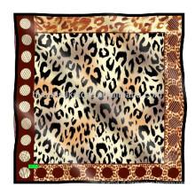 100% seda cachecol personalizado lenço de impressão leopardo