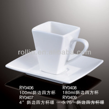 porcelain square coffee cup with customized logo printed