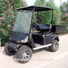 Vehículo utilitario de gas negro de 2 asientos con caja de carga y neumático fuera de carretera en venta