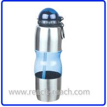 Путешествие спорта пластиковая бутылка воды с соломой (R-1134)