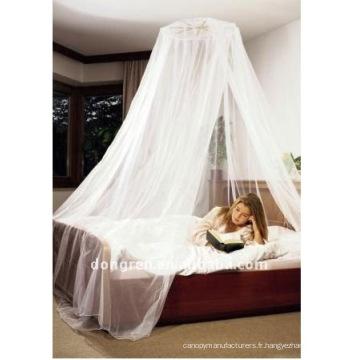 Moustiquaires rondes avec canopée en dentelle ou en mousseline de soie