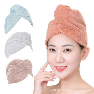 Wholesale girl hair drying hat quick-dry hair towel bamboo tuban hair towel wrap