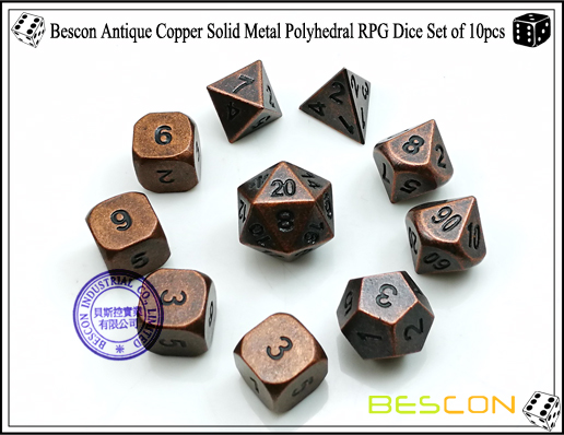 Bescon Antique Copper Solid Metal Polyhedral RPG Dice Set of 10pcs-2