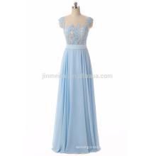 Hot Sale Evening Dresses Long Vestidos De Fiesta Longo 2016 A-line Sheer Neck Appliqued Prom Dress Cheap Fast Shipping