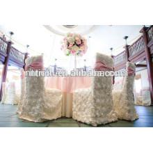 Couvre chaise de mariage charmante rosette satin, tissu de table de mariage luxe