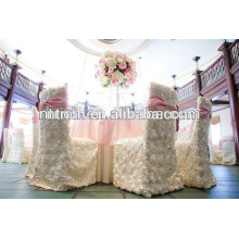 Charming satin rosette wedding chair covers,luxury wedding table cloth