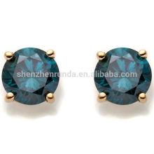 Bijoux fantaisie bijoux bleu foncé CZ plaqué boucles d'oreille en gros 2014 nouveau produit
