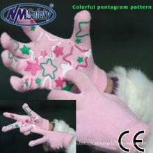 NMSAFETY 10 calibre luvas de algodão acrílico rosa com padrão colorido pentagrama pvc na palma da mão