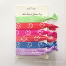 Cravates à cheveux élastiques à bande souriante (HEAD-325)
