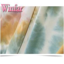 Estiramento poliéster Spandex escova tie dye romper tecido