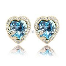 Mulheres nobre coração forma safira brincos de gemstone fio da jóia do anel