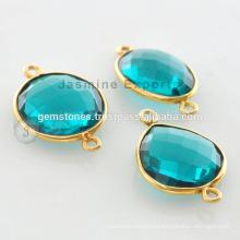Hecho a mano Oro Vermeil Teal Cuarzo Bezel Configuración Natural Gemstone Connector