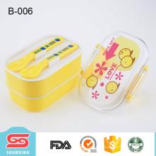 más popular de viaje portátil 2 capas de plástico de caja de alimentos para niños