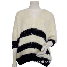 Ladies v neck pullover sweater with Furry yarns , black sequin stitch