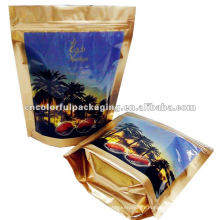 Vente chaude stand up poche plastique dates sac d'emballage alimentaire