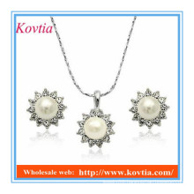 YIWU top quality fashion design imitation cheap pearl necklace and earring set