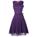 Kate Kasin Damas sin mangas de gasa corto vestido de fiesta de fiesta de baile Cocktail púrpura KK001080-1