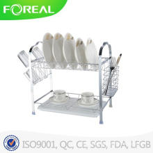 Multi-Function Two-Tier Dish Rack com titular de utensílio