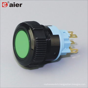 22mm Flat Button Lens Illuminated SPDT Momentary IP67 Black Color Plastic Push Button Switch