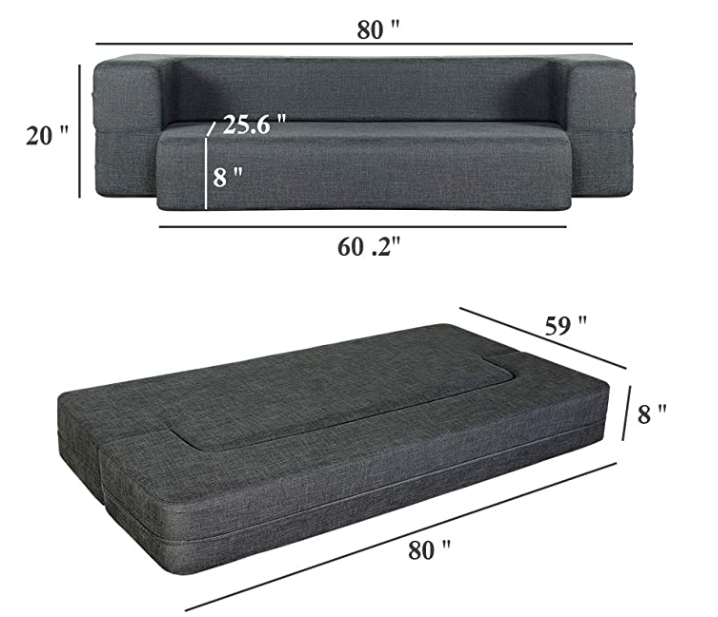 Folding Sofa Dark Gray Queen
