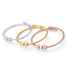 Nueva pulsera linda del brazalete del acero inoxidable de las señoras cristalinas