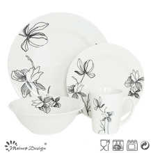 Elegant Porcelain 16PCS Dinner Set with Cut Decal