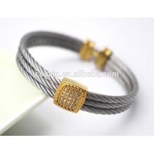 Encanto fresco del chapado en oro del vintage Pulsera del Cable-alambre con los cristales