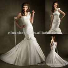 NY-2427 Criss cross bodice with hand made flowers on shoulder wedding dress