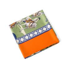 Moda hermosa cuello bufandas multicolor caballos impresa chal 130x130 cm bufanda cuadrada de seda de imitación