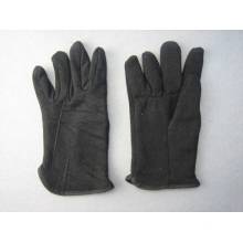Black Jersey Cotton Fleecy Lined Winter Work Glove-2107