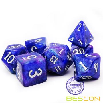 Bescon Starry Night Würfel Set Serie, 7tlg. Polyedrisches RPG Würfel Set von TWILIGHT, Tinbox Set
