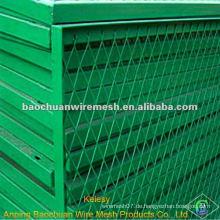 Niedrige Kohlenstoffstahlplatte Grünes Pulver beschichtetes ausziehbares Blechdiamantnetz
