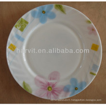 Vente en gros Maison Décoratif Modèle de fleurs Verre opale résistant à la chaleur Vaisselle Assiettes Ensembles de plats