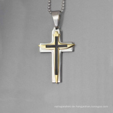 Neues Design Jesus Christus Kreuz Anhänger, vergoldet Kreuz Anhänger