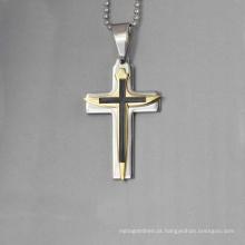 Novo design jesus cristo pingente de cruz, banhado a ouro pingente de cruz