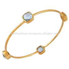 Los mejores vendidos de oro azul topacio oro Vermeil 925 brazalete de plata esterlina