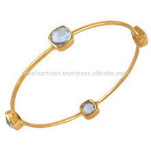Best Selling Natural Blue Topaz Gold Vermeil 925 Sterling Silver Bangle