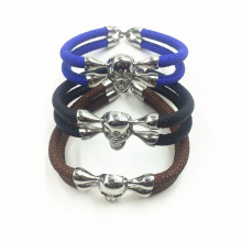 Srebrny Skull Head Charm Mens Stingray Leather Bracelet