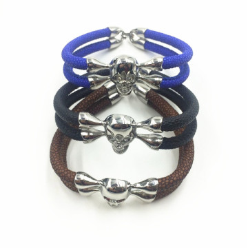 Silver Skull Head Charm Mens Stingray Leather Bracelet