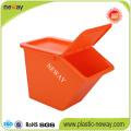 Boîte de rangement empilable en plastique de petite taille avec couvercle pivotant