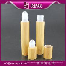 15ml de alta calidad y rollo de precios en botella con bola de acero, botella vacía de loción de bambú