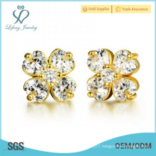 2015 Christmas gift newest design fashionable gold plating flower earring stud with cz crystal
