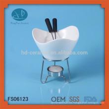 Olla caliente de cerámica blanca de la alta calidad, plato de afeitado indio, plato barato del frotamiento