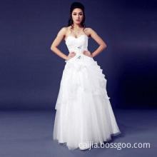 New Style A-line Sweetheart Neck Sleeveless Beaded Flower Wedding Dress, Available in White