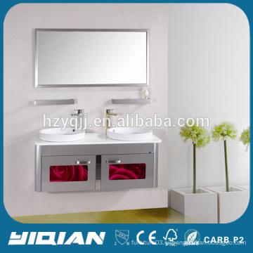 Двойной раковина Главная Зеркальный тщеславие для унитаза Ханчжоу Фабрика из нержавеющей стали Bathroo Cabinet